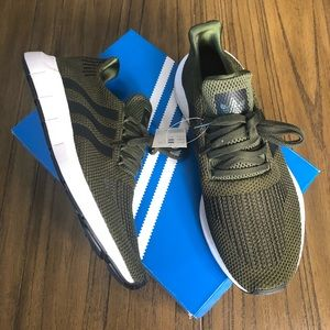 Adidas Swift Run army green and black sneakers